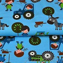 Textil - Úplet traktor modrá - 8633345_