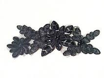 Galantéria - Monofilová vsádka s výšivkou - čierna - 8633569_