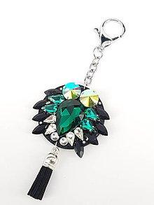 Kľúčenky - Luxusný prívesok STOUN na kabelku - Smaragdová zelená - 8636786_