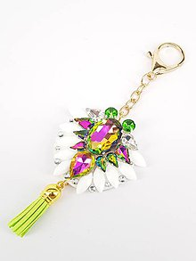 Kľúčenky - Luxusný prívesok STOUN na kabelku - Zelená s fialovými odleskami - 8636790_
