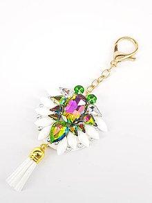 Kľúčenky - Luxusný prívesok STOUN na kabelku - Zelená s fialovými odleskami - 8636791_