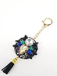 Kľúčenky - Luxusný prívesok STOUN na kabelku -Kapučíno + chladné odtiene s čiernym strapcom - 8636793_
