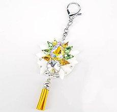 Kľúčenky - Luxusný prívesok STOUN na kabelku - Citrín s jemnou zelenou - 8636803_