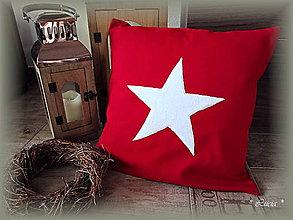 Úžitkový textil - Vianočná obliečka na vankúš hviezda - 8636277_