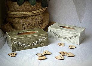 Krabičky - Zásobník na kapesníky OLIVE X OLD WHITE - 8633394_