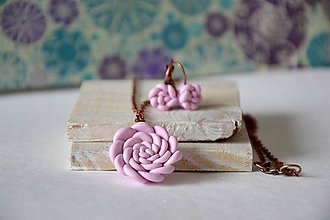 Sady šperkov - sukulent, sada, náušnice, náhrdelník, fimo - 8634614_