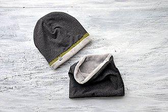 Detské súpravy - Zimná súprava antracit & khaki obojstranná - 8636722_