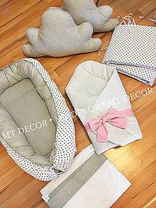 Textil - SET do postieľky /mantinel, hniezdo, zavinovačka, plachta, vankuše/ - 8635085_