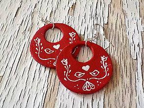 Náušnice - FOLKLÓRNE veľké maľované kruhy-jednostranné - 8636132_