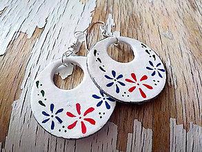 Náušnice - FOLKLÓRNE veľké maľované kruhy-obojstranné - 8636399_