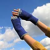 Rukavice - Modré s gombíkmi - jediný kus - 8638410_