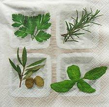 Papier - S1074 - Servítky - herbs, bylinky, petržlen, oliva, tymián, bazalka - 8637387_