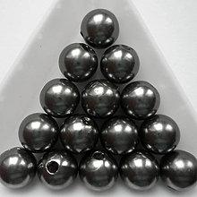 Korálky - GLANCE plast 10mm-10ks (tm.šedá) - 8638563_