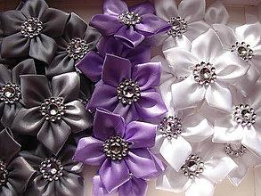 Galantéria - látkové kvetinky (Šedá) - 8637253_