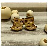 Drevené náušnice wood_style sovičky OWL