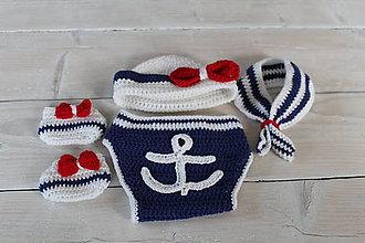 Detské súpravy - Háčkovaný kostým námorník - 8638824_