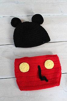 Detské súpravy - háčkovaný kostým mickey mouse - 8639234_