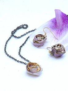 Náhrdelníky - náhrdelník zlato ružový s ružou - 8638300_