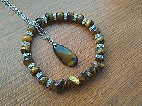 Sady šperkov - sada náramok a náhrdelník tigrie oko - 8641166_