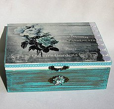 Krabičky - Krabica -modré ruže - 8643927_