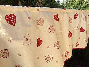 Úžitkový textil - Záclonka Srdiečková - 8641569_