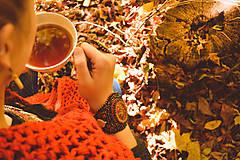 Náramky - Fallen leaves - vyšívaný náramek - 8641427_