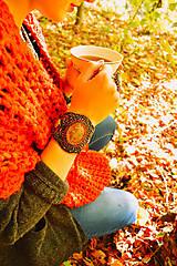 Náramky - Fallen leaves - vyšívaný náramek - 8641430_