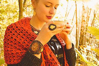 Prstene - Fallen leaves - vyšívaný prsten - 8641457_