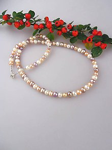 Náhrdelníky - Perly pravé tricolor náhrdelník LUX, zapínanie striebro Ag925/1000 - 8641045_