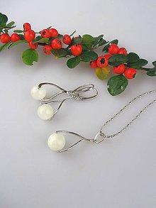 Sady šperkov - pravý mesačný kameň náušnice prívesok v striebre Ag925/1000 - 8643970_