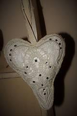 Dekorácie - Čipkové srdce shabby chic - 8642614_