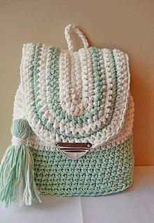 Detské tašky - Batoh mentolovo - krémovej farby - 8642037_