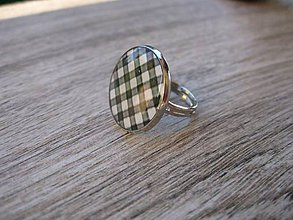 Prstene - Čierno biely prsteň veľký (Čierno biele káro - prsteň veľký č.1342) - 8640634_