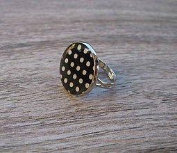 Prstene - Čierno biely prsteň veľký (Čierno biele bodky - prsteň veľký č.1344) - 8640722_