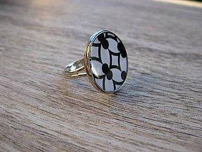 Prstene - Čierno biely prsteň veľký (Bielo čierny - prsteň veľký č.1349) - 8640880_