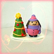 Socha - Zlato červený vianočný stromček a tlsté dievča - 8641056_