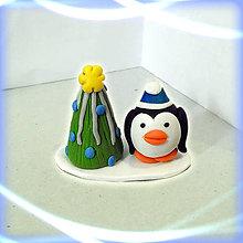 Dekorácie - vianočný stromček a tlstý tučniak (Striebro modrý) - 8641866_