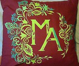 Úžitkový textil - Maľovaný dekoračný vankúš - 8646248_