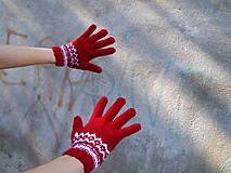 Rukavice - Rukavice prstové červené s bielym vzorom - 8645453_
