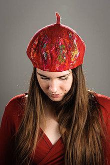 Čiapky - Červená vlnená Francúzska Baretka, Merino vlna, Plstená - 8646829_