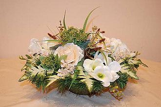 Dekorácie - veľká ikebana na hrob maslová - 8646475_