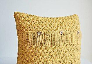 Úžitkový textil - Pletený vankúš (žltý) - 8645723_