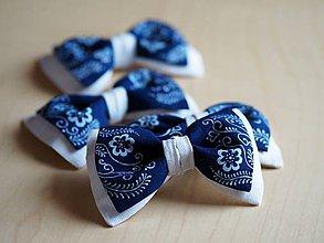 Doplnky - Motýlik pánsky modrotlač Folk - 8645152_