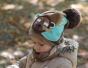 Detské čiapky - Hrejivý set s mackom - 8646094_