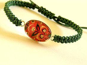 Náramky - zeleno-cerveny folk shamballa - 8644260_