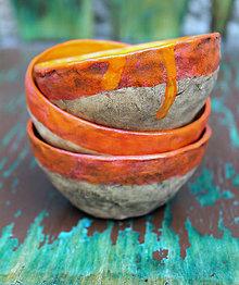 Nádoby - Keramické mištičky vo farbách jesene - 8646099_