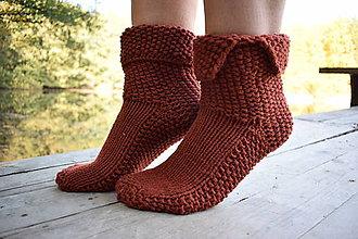 Obuv - extra hrubé, hnedé ponožky (v.37-38) - 8645432_