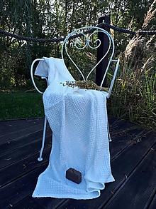 Úžitkový textil - Ľanová osuška Natural White (Modrá) - 8646961_