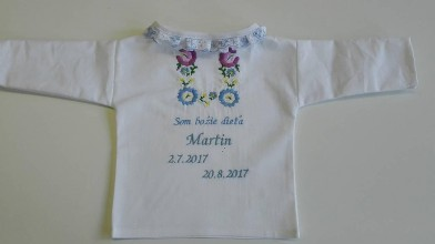 Detské oblečenie - Krstová košieľka s výšivkou Podpoľanie - 8624241_