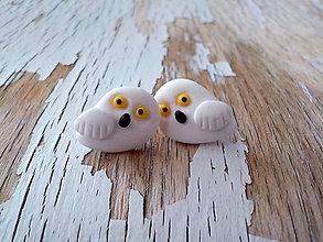 Náušnice - sovičky snežienky - napichovačky - 8647359_